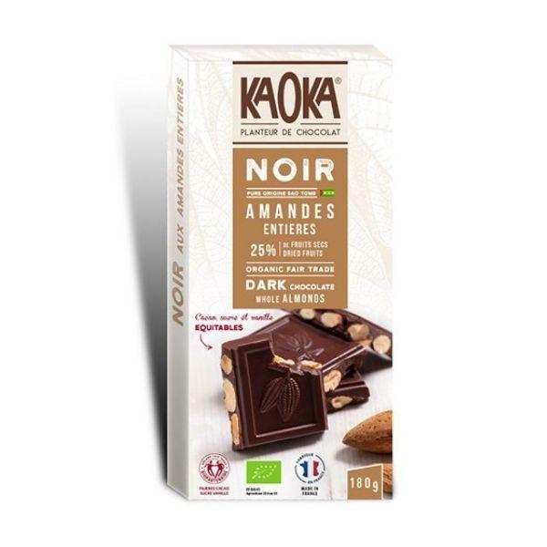 CHOCOLAT NOIR AUX AMANDES ENTIÈRES 180g - KAOKA / CANOPY