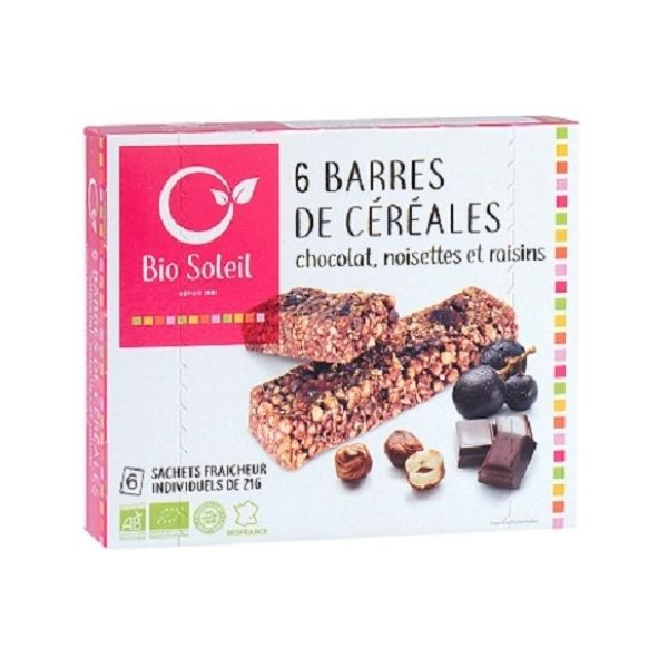 BARRE CHOCOLAT/NOISETTE/RAISIN 125G - BIO SOLEIL / CANOPY