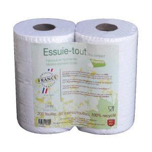 ESSUIE-TOUT RECYCLÉ Ecologique 2 Rouleaux X200F - PAPECO