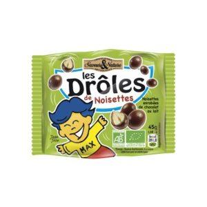 NOISETTES TOASTÉES ENROBÉES DE CHOCOLAT LAIT 45g - SAVEUR & NATURE / CANOPY