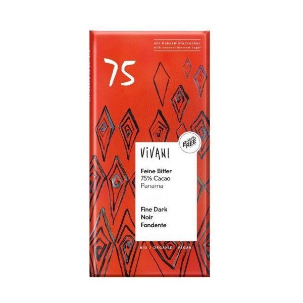CHOCOLAT NOIR 75% DE CACAO PANAMA 80g - VIVANI / CANOPY