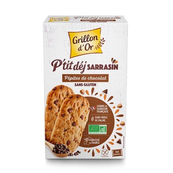 BISCUITS P'TIT DEJ SARRASIN Pépites Chocolat 150g - GRILLON D'OR / Canopy