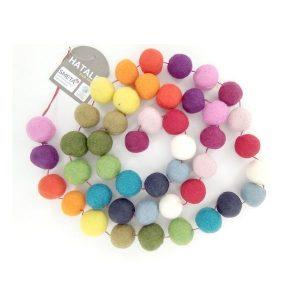 GUIRLANDE LAINE FEUTRÉE Boules Multicolores 1,6m - ECODIS / CANOPY