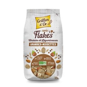 FLAKES CÉREALES & LEGUMINEUSES AMANDES-NOISETTES 325g - GRILLON D'OR / CANOPY