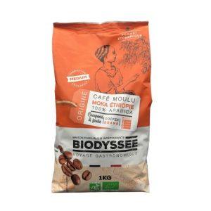 CAFE GRAIN 100% MOKA PUR ARABICA 1KG - BIODYSSEE / CANOPY